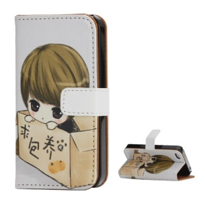Sweet Girl Folio Wallet Leather Cover Case with Stand for iPhone 4 4S