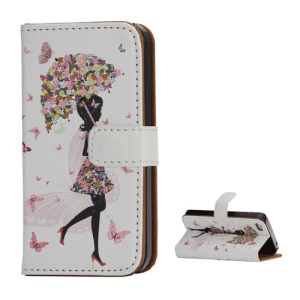 Pretty Girl & Butterfly Wallet Folio Leather Cover with Stand for iPhone 4 4S