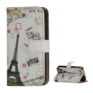 Eiffel Tower Postcard Design Card Holder Leather Stand Case for iPhone 4 4S