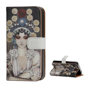 Opera Beauty Pattern Wallet Leather Protective Case for iPhone 4 4S