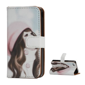 Wallet Leather Case for iPhone 4 4S Aesthetic Pretty Girl Wearing Hat Painted
