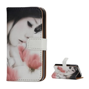 Aesthetic Beauty & Flower Card Slots Stand Leather Case for iPhone 4 4S