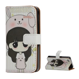 Little Girl Wearing Bunny Hat Leather Wallet Case for iPhone 4 4S with Stand Function