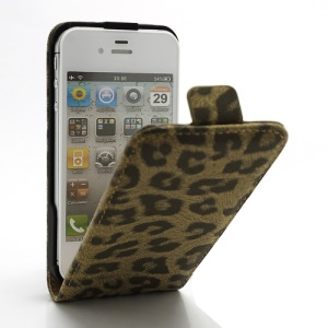 Vertical Magnetic Leopard Leather Case Cover for iPhone 4 4S - Brown