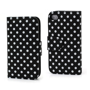 Polka Dot Folio Wallet Leather Phone Case for iPhone 4 4S - White Dots / Black