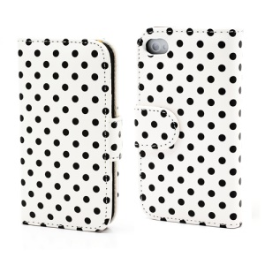 Polka Dot Folio Wallet Leather Phone Case for iPhone 4 4S -  Black Dots / White