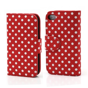 Polka Dot Folio Wallet Leather Phone Case for iPhone 4 4S -  White Dots / Red