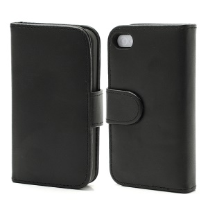 Elegant Magnetic Folio Leather Wallet Case for iPhone 4 4S - Black