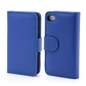 Elegant Magnetic Folio Leather Wallet Case for iPhone 4 4S - Blue