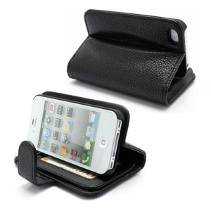 Lychee Textured Multi-Slot Wallet Leather Case with Stand for iPhone 4 4S