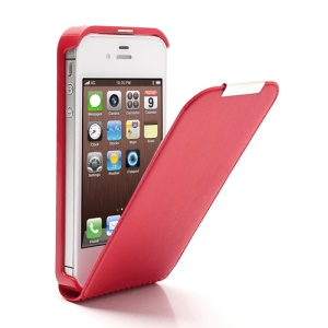 Vertical PU Leather Magnetic Flip Case Cover Accessories for iPhone 4 4S - Red