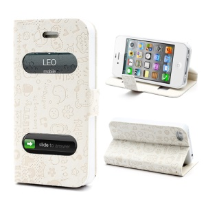Cute Cartoon Pattern Table Talk Style Leather Flip Stand Case for iPhone 4 4S - White