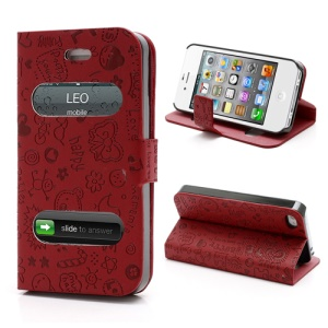 Cute Cartoon Pattern Table Talk Style Leather Flip Stand Case for iPhone 4 4S - Red