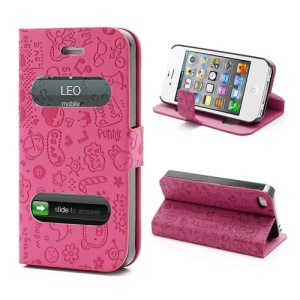 Cute Cartoon Pattern Table Talk Style Leather Flip Stand Case for iPhone 4 4S - Rose