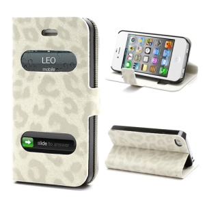 Table Talk Caller ID Leopard Leather Flip Case w/ Stand for iPhone 4 4S - White