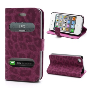 Table Talk Caller ID Leopard Leather Flip Case w/ Stand for iPhone 4 4S - Rose
