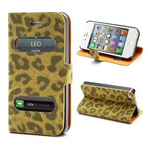 Table Talk Caller ID Leopard Leather Flip Case w/ Stand for iPhone 4 4S - Brown