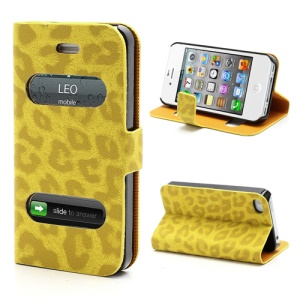 Table Talk Caller ID Leopard Leather Flip Case w/ Stand for iPhone 4 4S - Yellow