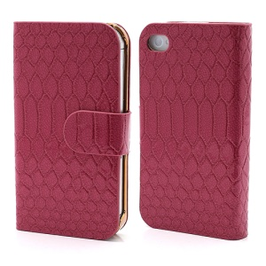 Chic Sleek Snake Leather Credit Card Wallet Case Cover for iPhone 4 4S - Rose
