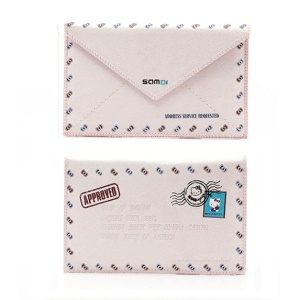 SAMDI Retro Envelope Postcard Pouch Leather Cover for iPhone 4 4S 3GS 3G iPod Touch 4 3 - Pink, Size:12.5cm x 8cm