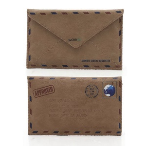 SAMDI Retro Envelope Postcard Pouch Leather Cover for iPhone 4 4S 3GS 3G iPod Touch 4 3 - Brown, Size:12.5cm x 8cm