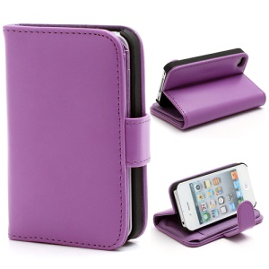 Multiple Card Slots Crazy Horse Leather Wallet Case w/ Stand for iPhone 4 4S - Purple