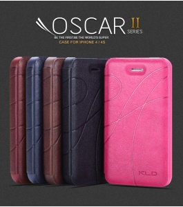 KLD Oscar II Series Leather Case Cover w/ Card Slot Stand for iPhone 4S 4