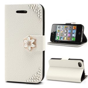 Elegant Bling Diamante Flower For iPhone 4 4S Leather Case Stand