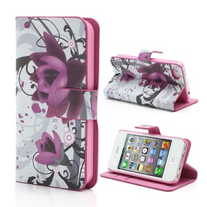Beautiful Lotus Flower Credit Card Wallet Stand Leather Case for iPhone 4 4S