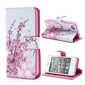 Pink Plum Magnetic Leather Case Cover with Card Slots & Stand for iPhone 4 4S