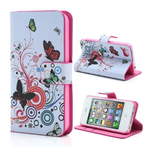 Vivid Butterfly Circle Leather Case with Stand & Wallet for iPhone 4 4S
