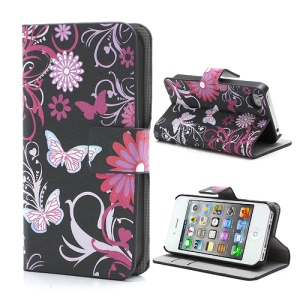 Butterfly & Flower Card Slot Leather Stand Case Shell for iPhone 4 4S