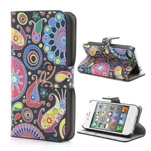 Colorful Flower Ribbon Wallet For iPhone 4 4S Leather Stand Case Cover