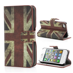 iPhone 4 4S Vintage Union Jack Flag Magnetic Wallet Leather Case Stand