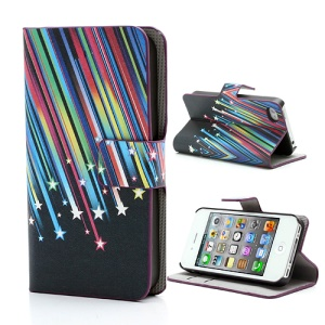 Meteor Shower Wallet Leather Case Cover with Stand for iPhone 4 4S