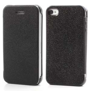 Black Mcover for iPhone 4 4S Ultra Thin Slim Leather Case