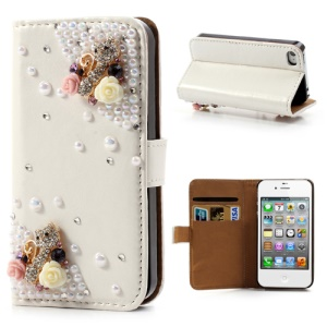 Bling Bling Rhinestone Pearl 3D Flower & Kitty Wallet Leather Case for iPhone 4 4S