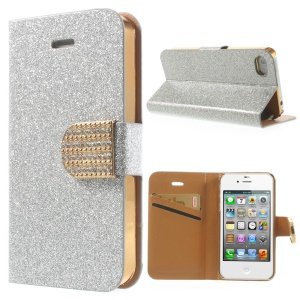 Flash Powder Leather Wallet Case for iPhone 4 4S, w/ Rhinestone Magnetic Flap - Silver