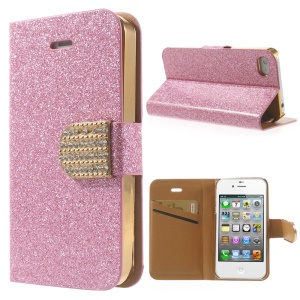 Flash Powder Leather Cover for iPhone 4 4S, w/ Wallet & Rhinestone Magnetic Flap - Rose