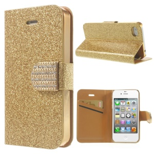 Flash Powder Leather Shell for iPhone 4 4S, w/ Wallet & Rhinestone Magnetic Flap - Gold