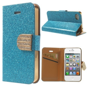 Flash Powder Leather Wallet Case for iPhone 4 4S, w/ Rhinestone Magnetic Flap - Blue