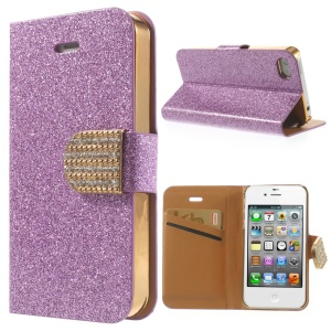 Flash Powder for iPhone 4 4S Leather Case Wallet, w/ Rhinestone Magnetic Flap - Purple