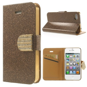 Flash Powder for iPhone 4 4s Leather Wallet Case, w/ Rhinestone Magnetic Flap - Brown