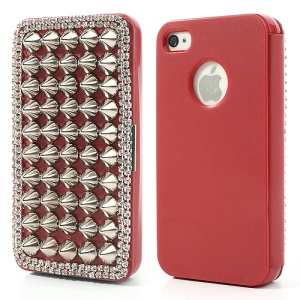 Punk Sharp Rivets Diamond Leather Cover for iPhone 4 4s - Silver Rivets / Red