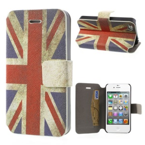 For iPhone 4 4S Retro UK Flag Card Slot Leather Stand Case