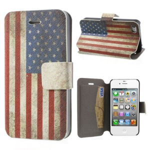 For iPhone 4 4S Retro US Flag Leather Stand Cover w/ Card Slot