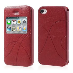 Red Streamline Window View Leather Shield Cover for iPhone 4 4S