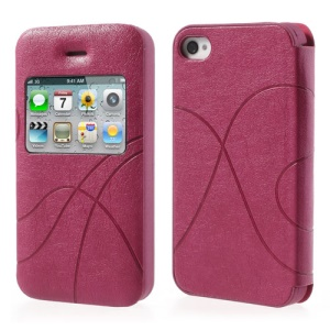 Rose for iPhone 4 4S Streamline Leather Shield Case w/ View Window