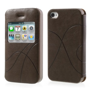 Coffee for iPhone 4 4S Streamline Window View Leather Case Accessory