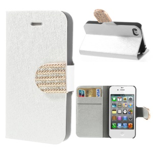 Silver Silk Grain Diamante Card Slot Leather Stand Cover for iPhone 4 4S